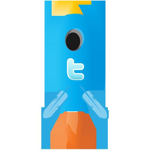 Иконка Твиттер ракета - твиттер, ракета, twitter
