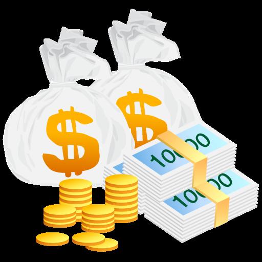 Иконка деньги - финансы, монеты, купюры, деньги