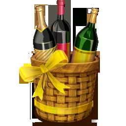 Иконка бутылки с вином - корзина, вино, бутылки