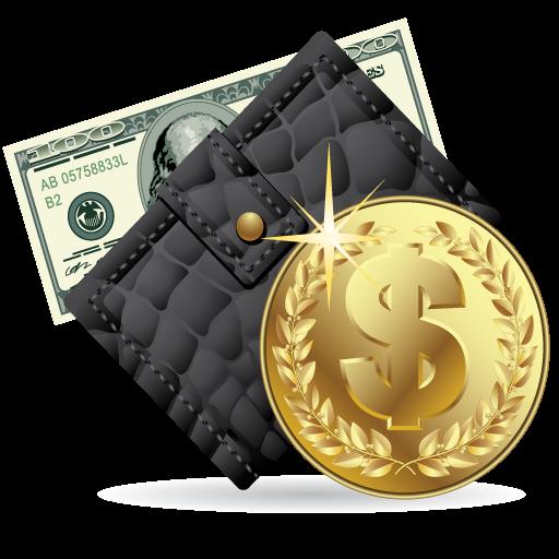 Иконка деньги - монеты, кошелек, деньги