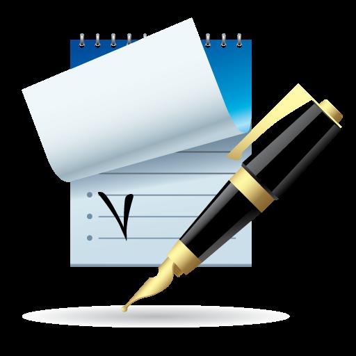 Иконка Блокнот и ручка - чек лист, ручка, блокнот