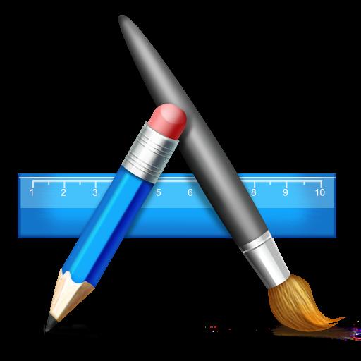 Иконка дизайн - линейка, кисть, карандаш, дизайн