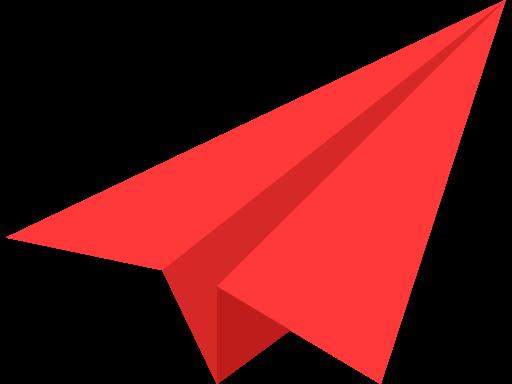 Иконка красный самолетик - самолёт, оригами, бумага